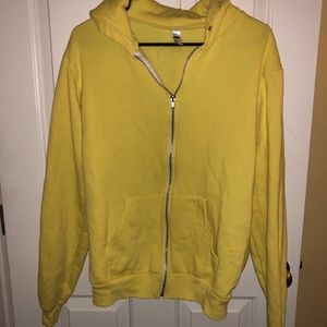 American apparel yellow zip hoodie size Large